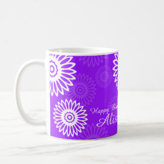Summer Purple flowers Happy Birthday Name Mug