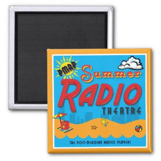 """""""Summer Radio Theatre"""" Square Fridge Magnet"""