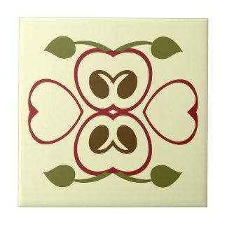 Summer Red Apple Slice Ceramic Tile