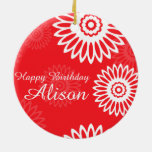 Summer Red flowers Happy Birthday Name Ornament