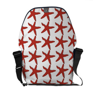 Summer Red White and Blue Starfish Shell Pattern Messenger Bag