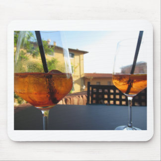 Summer refreshing aperitif drink on the rocks mouse pad