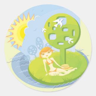 Summer Rest Classic Round Sticker