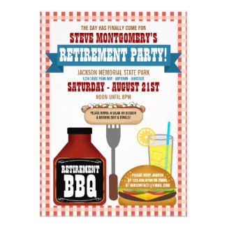 Summer Retirement Barbeque Party Invitations