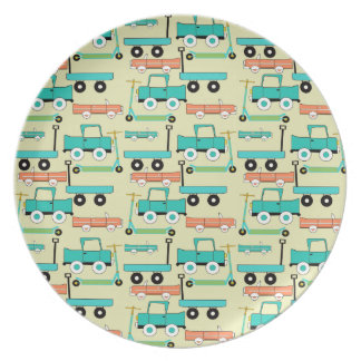 Summer Retro Wheels Scooters Cars Wagons Trucks Party Plate