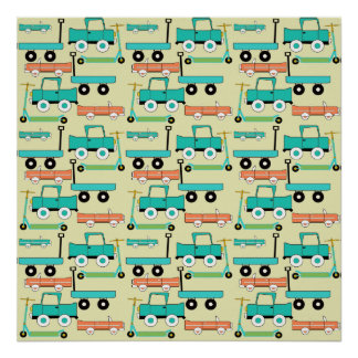 Summer Retro Wheels Scooters Cars Wagons Trucks Poster