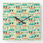 Summer Retro Wheels Scooters Cars Wagons Trucks Square Wall Clock