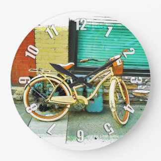 Summer Ride - Yellow Bicycle Large Clock