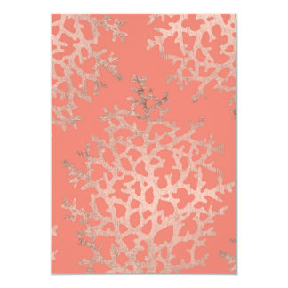 Summer rose gold coral sea pattern on salmon card