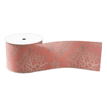Summer rose gold coral sea pattern on salmon grosgrain ribbon