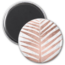 Summer rose gold tropical palm tree white marble magnet