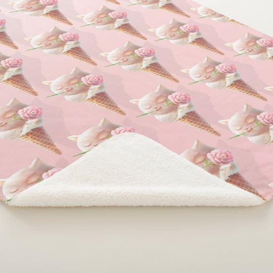 Summer Rose Ice Cream Cone Sherpa Blanket