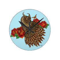 Summer Rose Round Clock