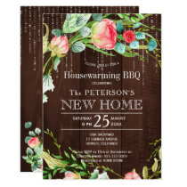 Summer roses garden rustic housewarming bbq card