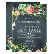 Summer roses garden rustic new home bbq card