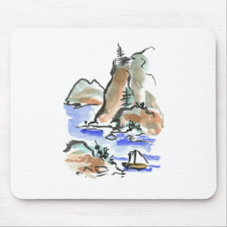 Summer Sail - Sumi-e ink painting Mouse Pad