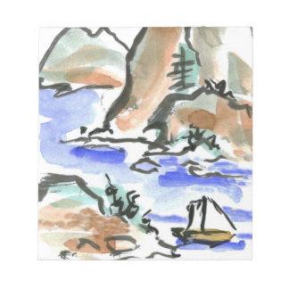 Summer Sail - Sumi-e ink painting Notepad