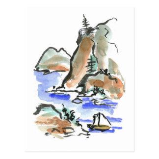 Summer Sail - Sumi-e ink painting Postcard