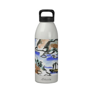 Summer Sail - Sumi-e ink painting Reusable Water Bottle