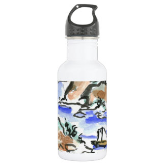 Summer Sail - Sumi-e ink painting Water Bottle