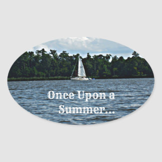 Summer sailboat scene with message. oval sticker