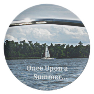 Summer sailboat scene with message. party plates