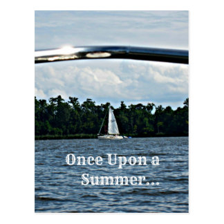 Summer sailboat scene with message. post card