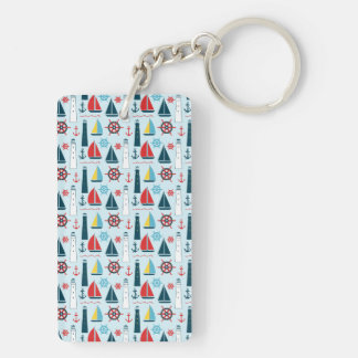 Summer Sailing in the Bay Double-Sided Rectangular Acrylic Keychain