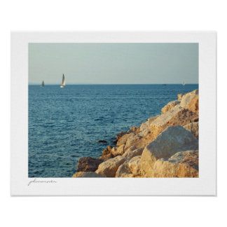 Summer sailing on the bay poster