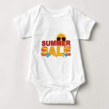 Beach Themed Summer Sale Beach Theme Banner Illustration Baby Bodysuit