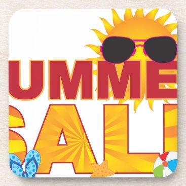 Summer Sale Beach Theme Banner Illustration Beverage Coaster