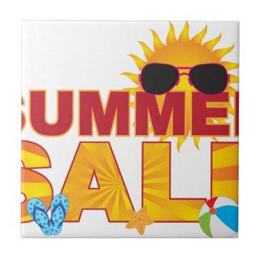 Summer Sale Beach Theme Banner Illustration Ceramic Tile