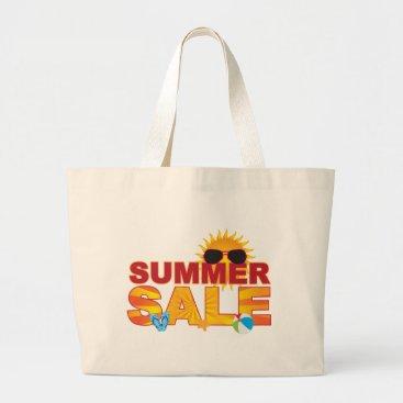Summer Sale Beach Theme Banner Illustration Large Tote Bag