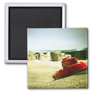 Summer Sand Box Fun 06 2 Inch Square Magnet