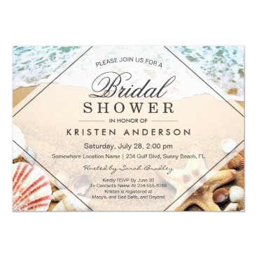 Beach Themed Summer Sandy Beach Starfish Seashell Bridal Shower Card