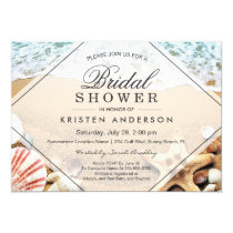 Summer Sandy Beach Starfish Seashell Bridal Shower Invitation