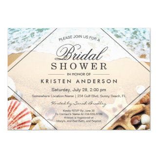 Summer Sandy Beach Starfish Seashell Bridal Shower Invitation