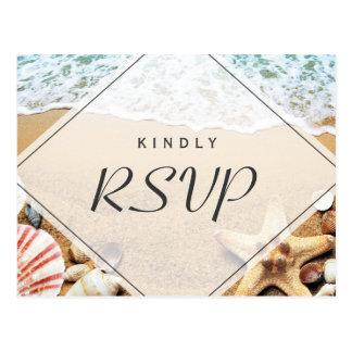 Summer Sandy Beach Starfish Seashell RSVP Reply Postcard