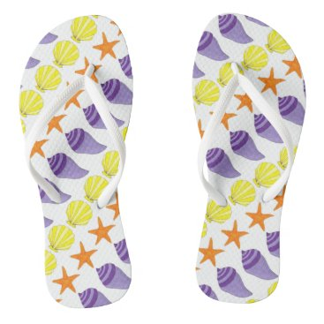 Beach Themed Summer Sea Shell Seashell Starfish Beach Print Flip Flops