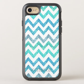 Summer sea teal turquoise faux glitter chevron OtterBox symmetry iPhone 7 case