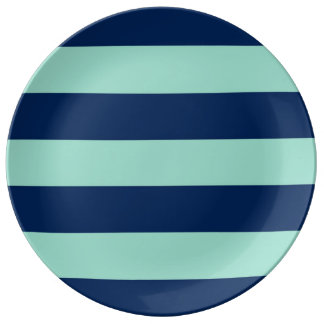 Summer Seafoam Green and Navy Stripes Plate