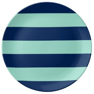 Summer Seafoam Green and Navy Stripes