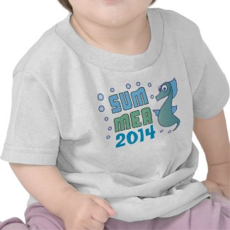 Summer Seahorse with Bubble Custom Baby T-Shirt T-shirt