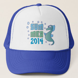 Summer Seahorse with Bubble Custom Blue Hat