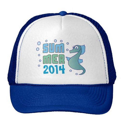 Summer Seahorse with Bubble Custom Blue Hat Trucker Hat