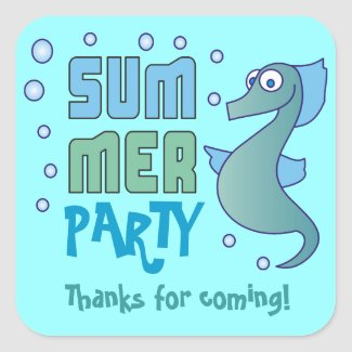 Summer Seahorse with Bubble Thank You Stickers