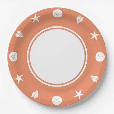 Beach Themed Summer Seashells in Coral Paper Plate