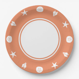 Summer Seashells in Coral Paper Plate 9 Inch Paper Plate