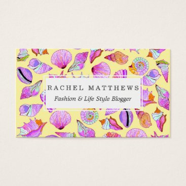 Beach Themed Summer Seashells in Girly Neon Colors Pattern Business Card