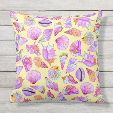 Beach Themed Summer Seashells in Girly Neon Colors Pattern Outdoor Pillow